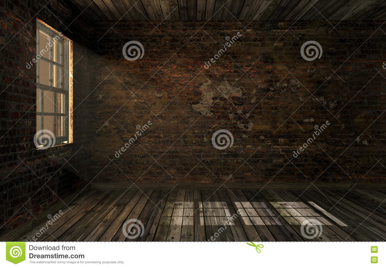 Dark empty room with window - Empty Dark Old Abandoned Room With Old Cracked Brick Wall And Old Hardwood Floor With Volume Light Through Window Pane