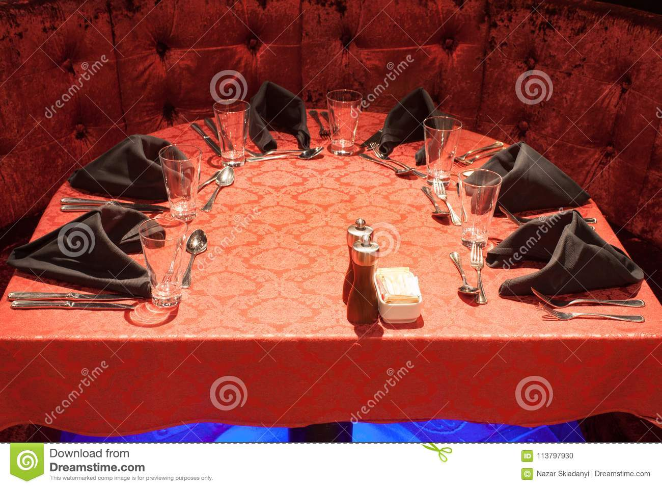 Interior Of A Restaurant In Red Color Stock Photo Image Of Celebration Decorated 113797930