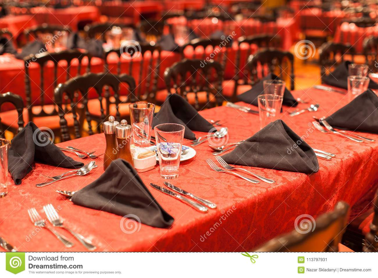 Interior Of A Restaurant In Red Color Stock Image Image Of Cafe Dish 113797931