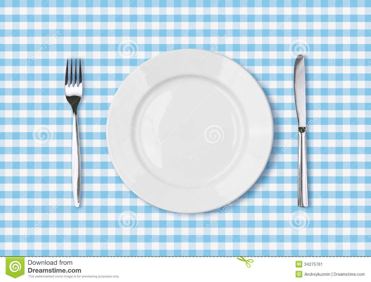 Empty dinner plate top view on blue picnic tablecloth.