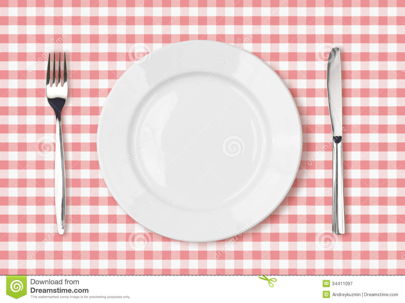 Empty dinner plate top view on pink picnic tablecloth
