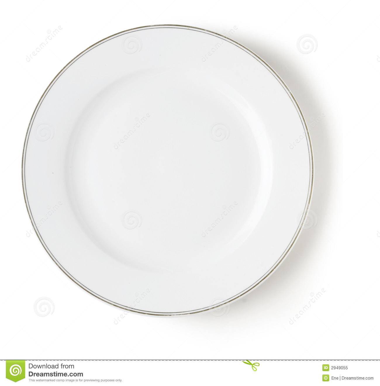 Blank and empty white dish over white with shadow and clipping path.