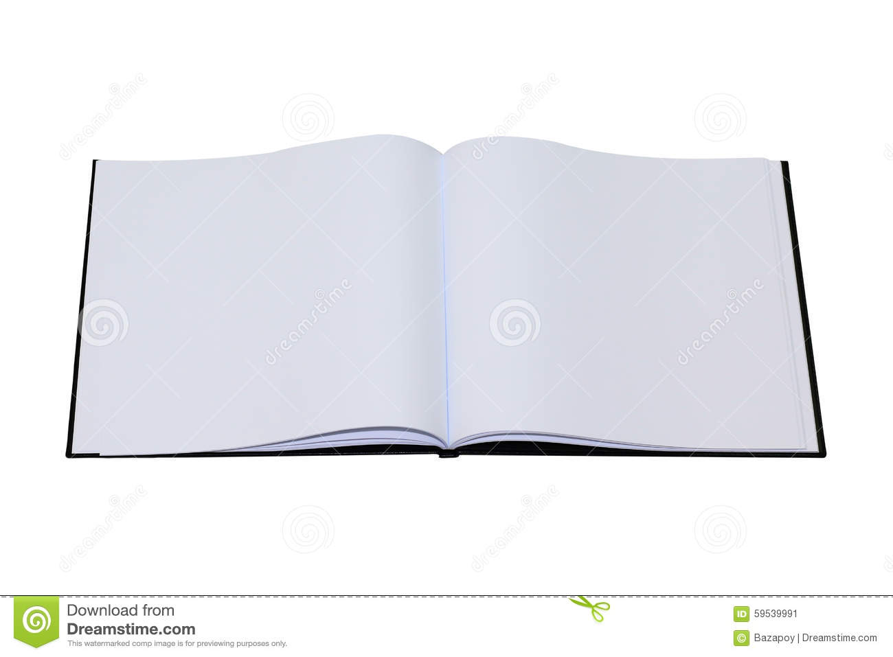 Book Cover White Background : Empty drawing book with black cover and white background