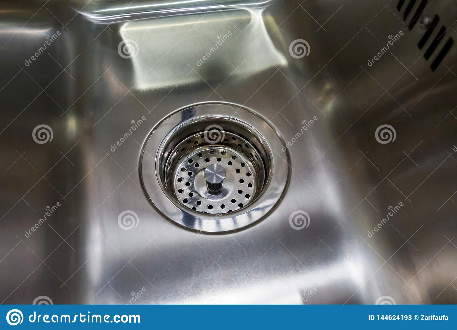 Pleasant Empty And Dry Metal Kitchen Sink With Grill On Drain Stock Best Image Libraries Thycampuscom