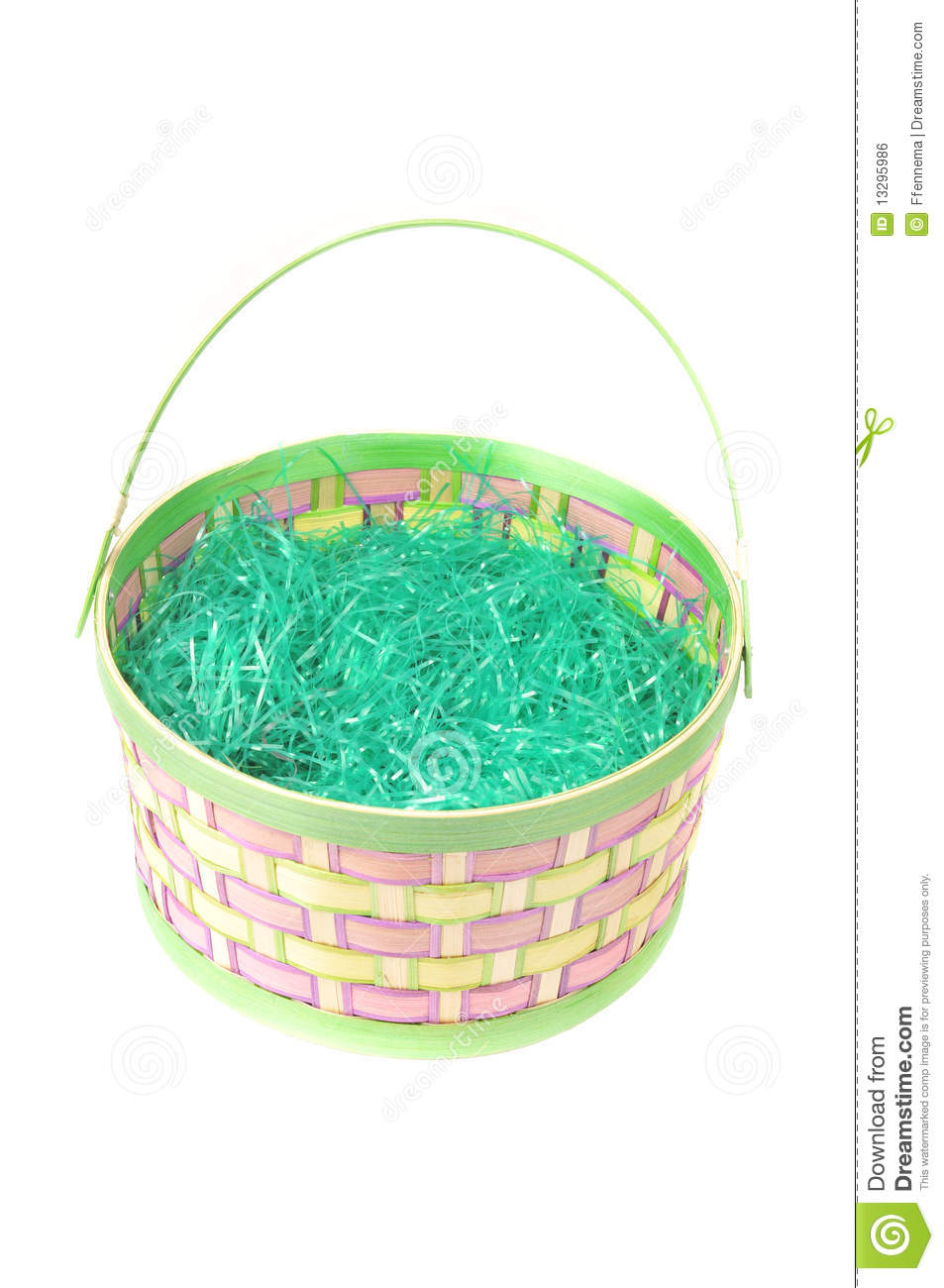 Empty Easter Basket With Green Grass On White