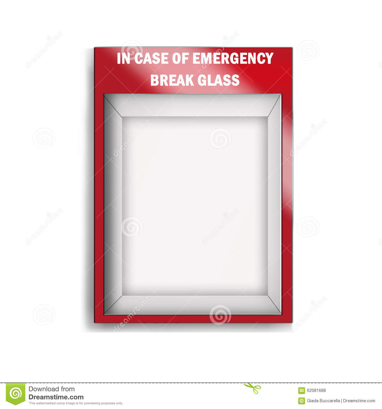 Empty Emergency Glass Case Stock Photo 62081688 Megapixl