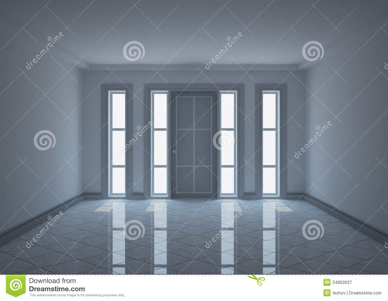 Empty Entrance Hall With Narrow Windows Stock Illustration