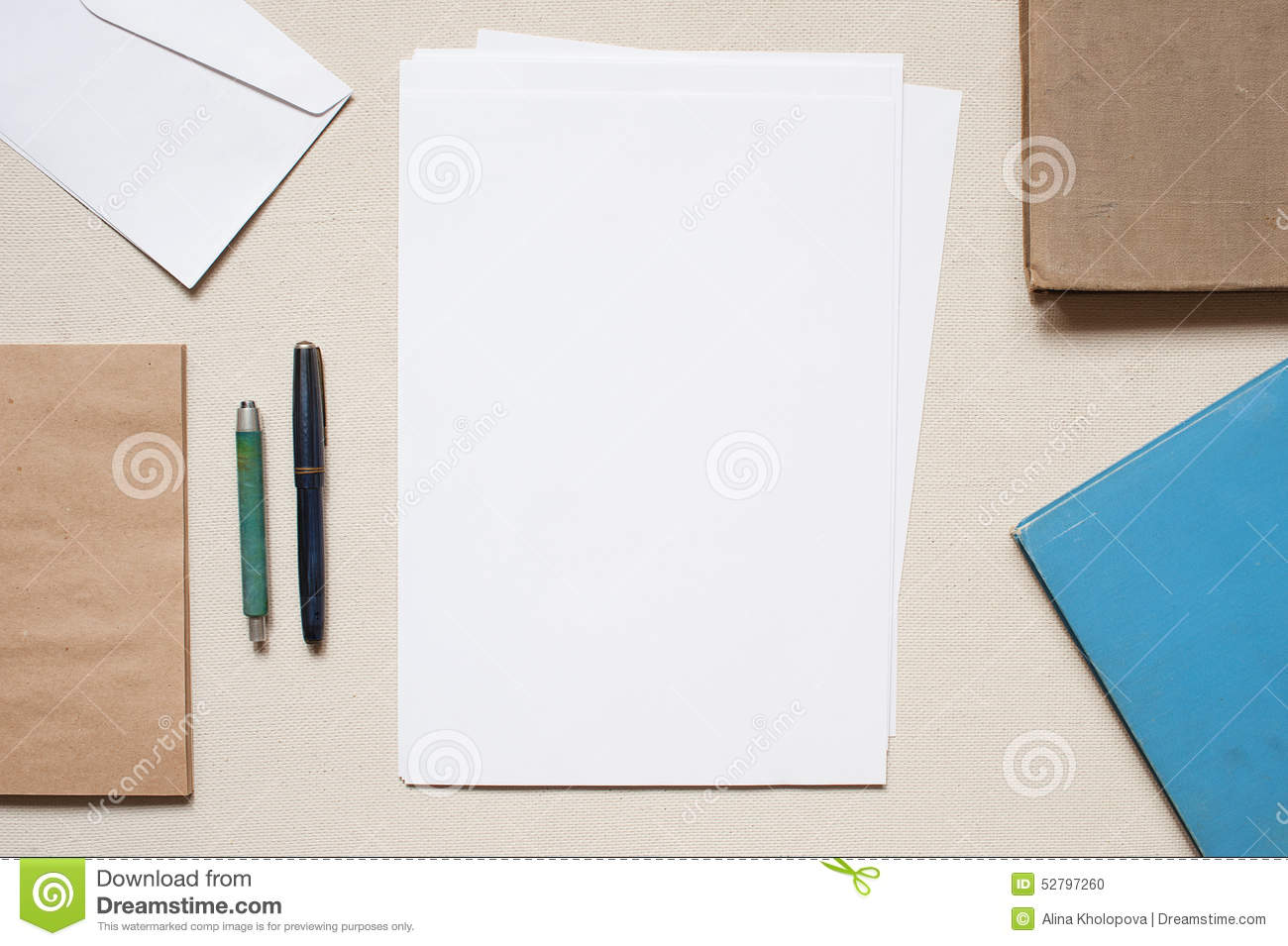 Empty envelopes and sheets of paper on the table