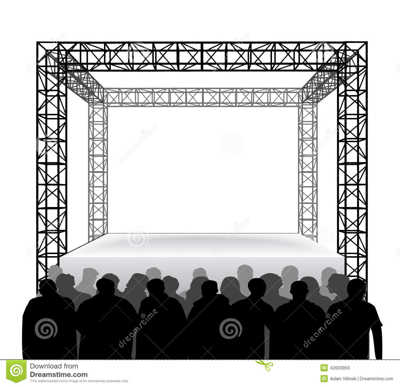 Download Empty Festival Stage With Spectators Isolated On White Vector Stock