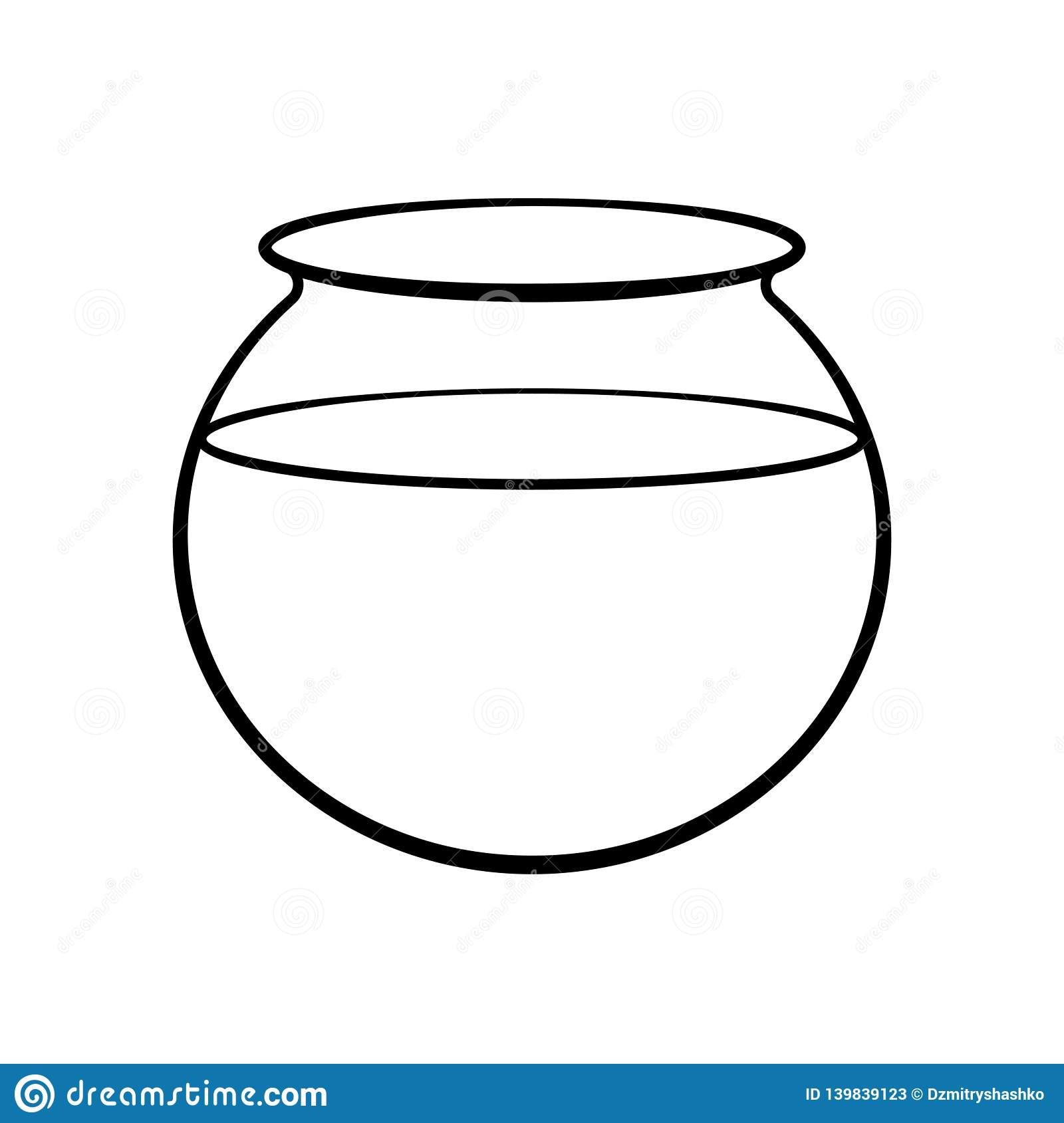 Empty Fish Bowl Outline Icon Stock Vector Illustration Of Isolated Pictogram 139839123