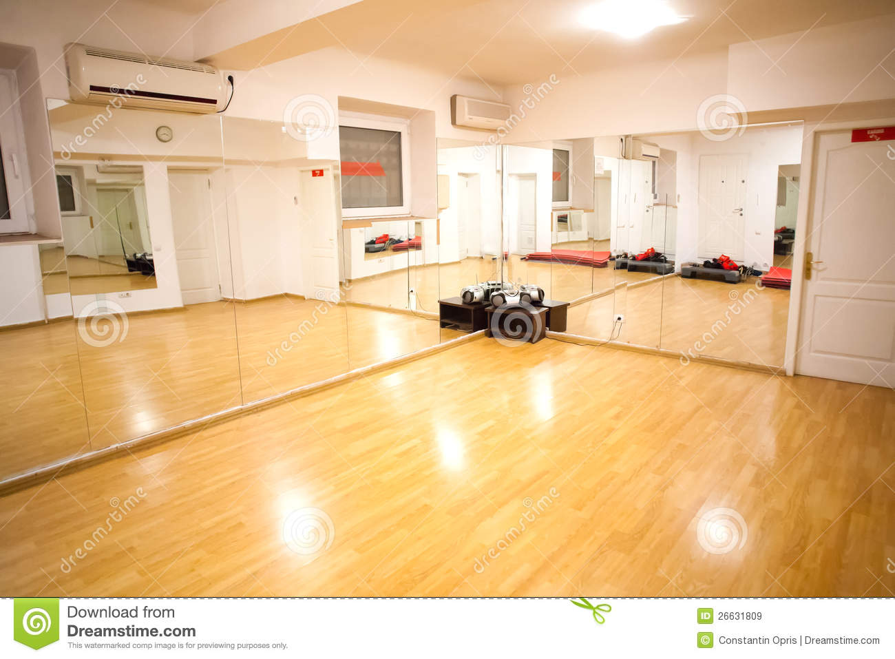 Empty fitness training room stock image