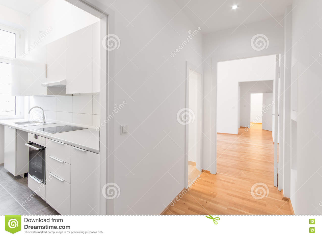 White Kitchen Wooden Floor Empty Flat White Kitchen And Wooden Floor Stock Photo Image