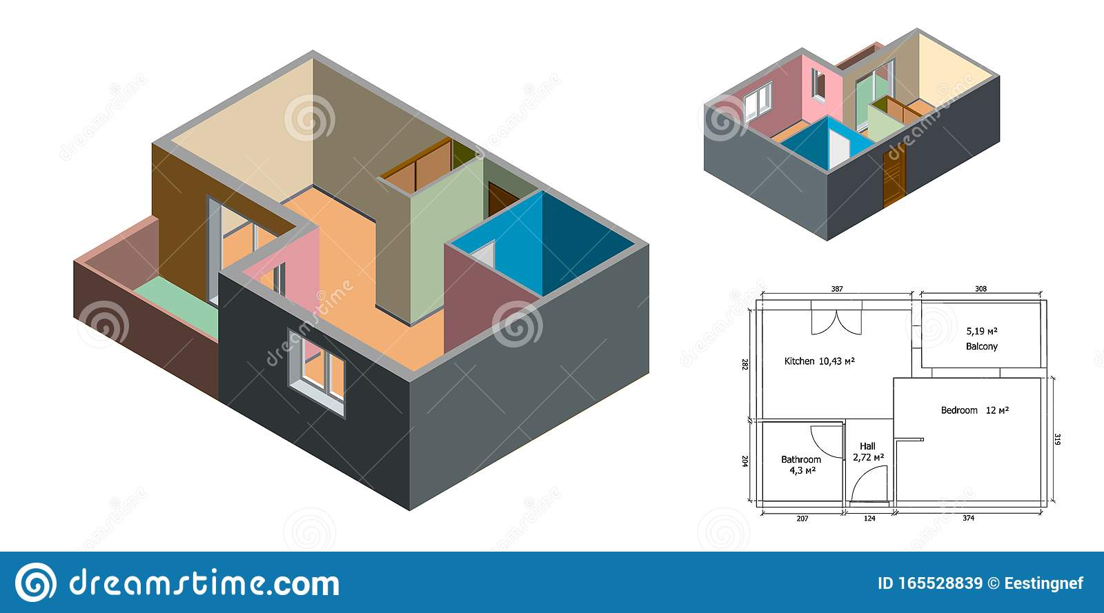 Empty Floor Plan Isolated On White Background 3d Vector Illustration Stock Vector Illustration Of Structure Room 165528839