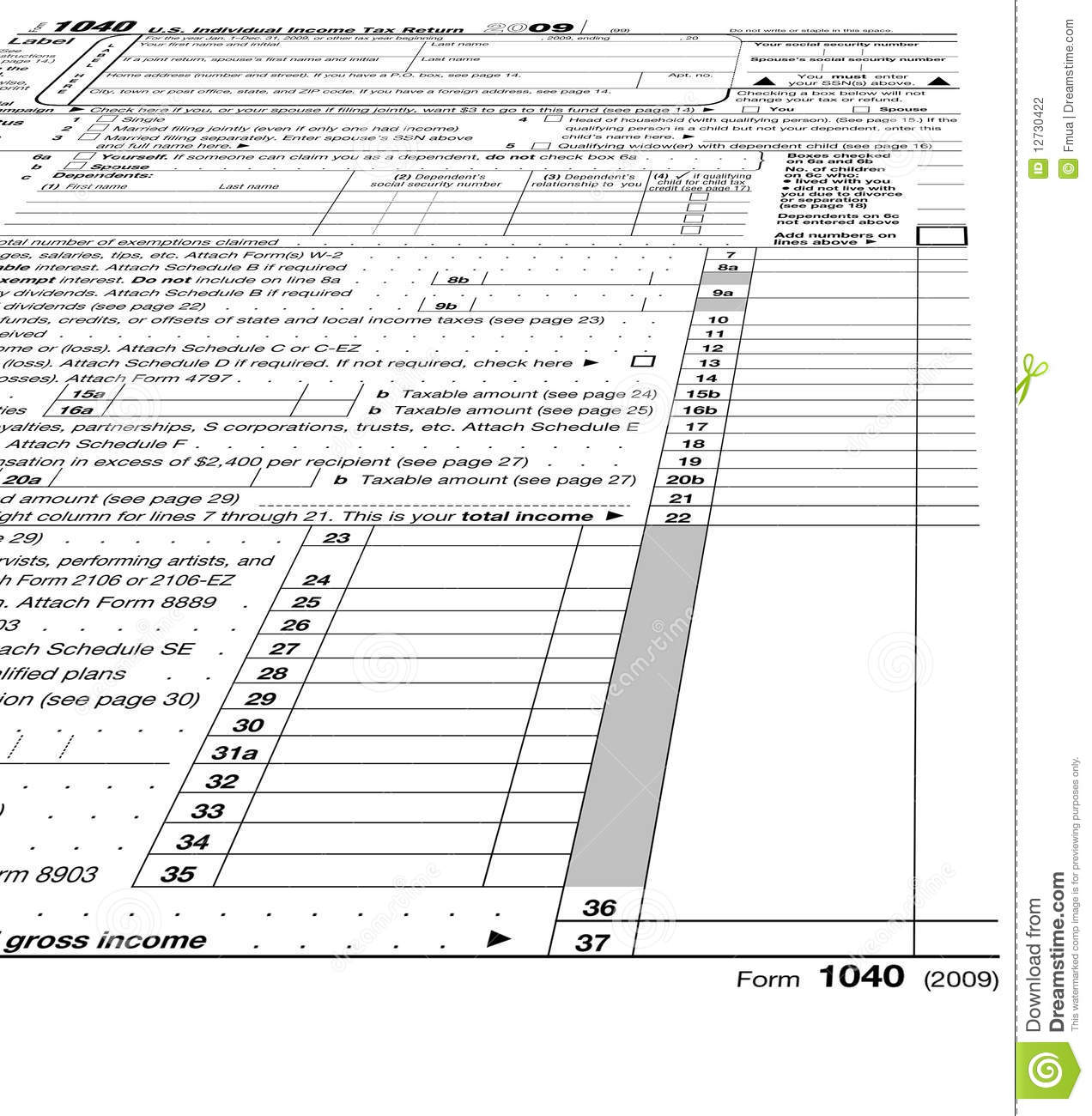 Empty form 1040 blank taxes stock photography image for 1040 instructions tax table 2010