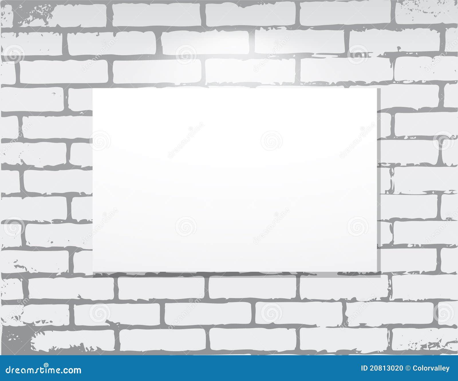 Brick Wall Art vector frame on brick wall. art gallery royalty free stock image