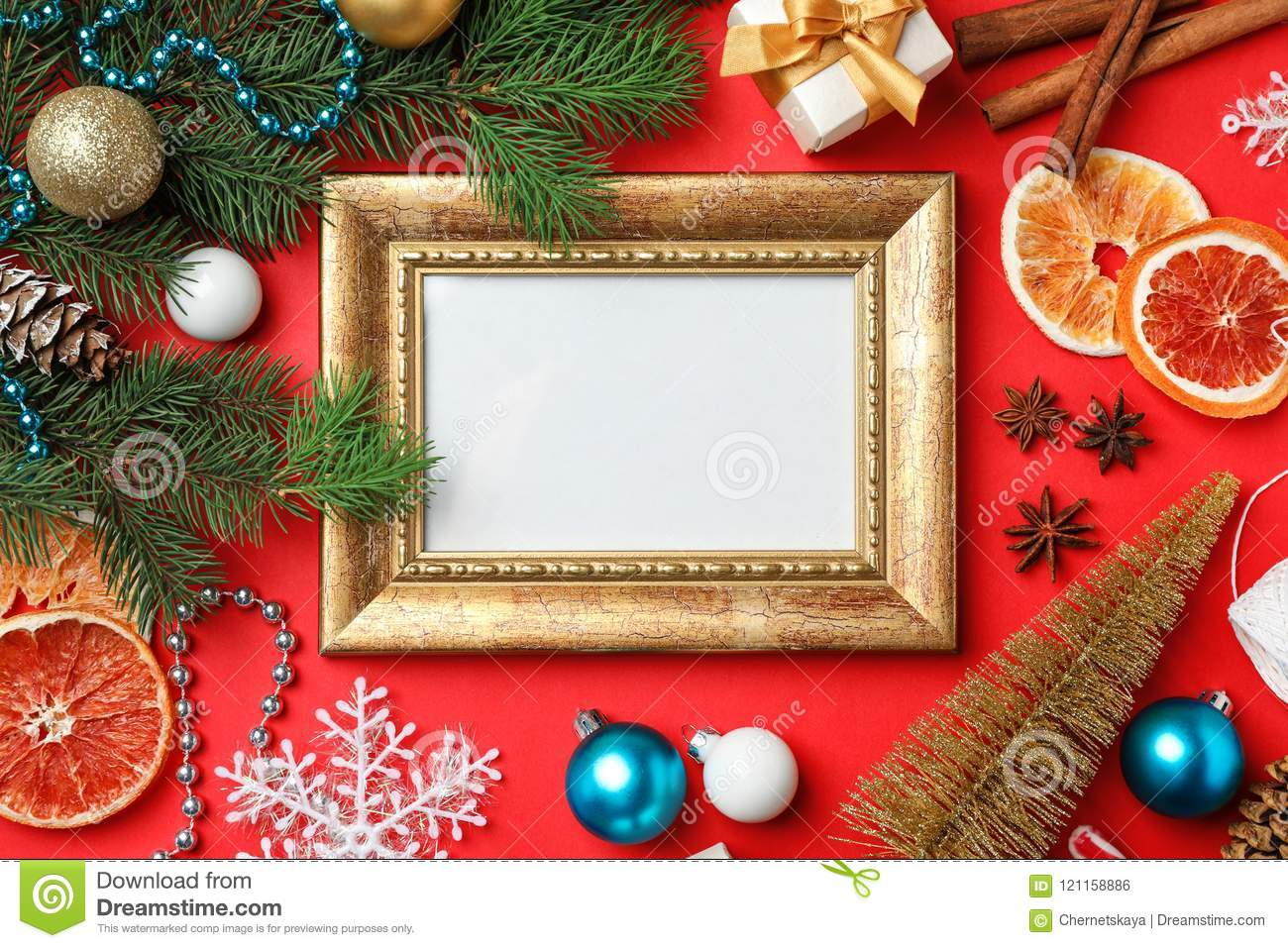 empty frame and different decor on color background top view christmas countdown