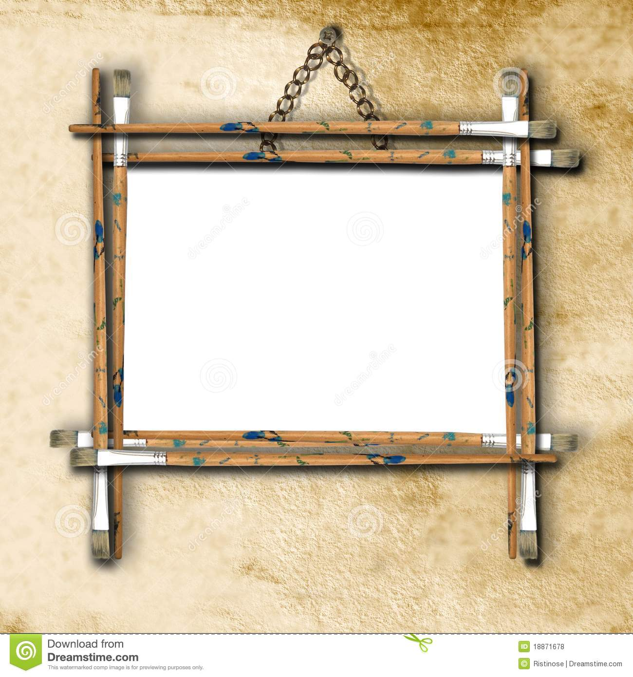 Empty frame on the wall stock photo. Image of design - 18871678