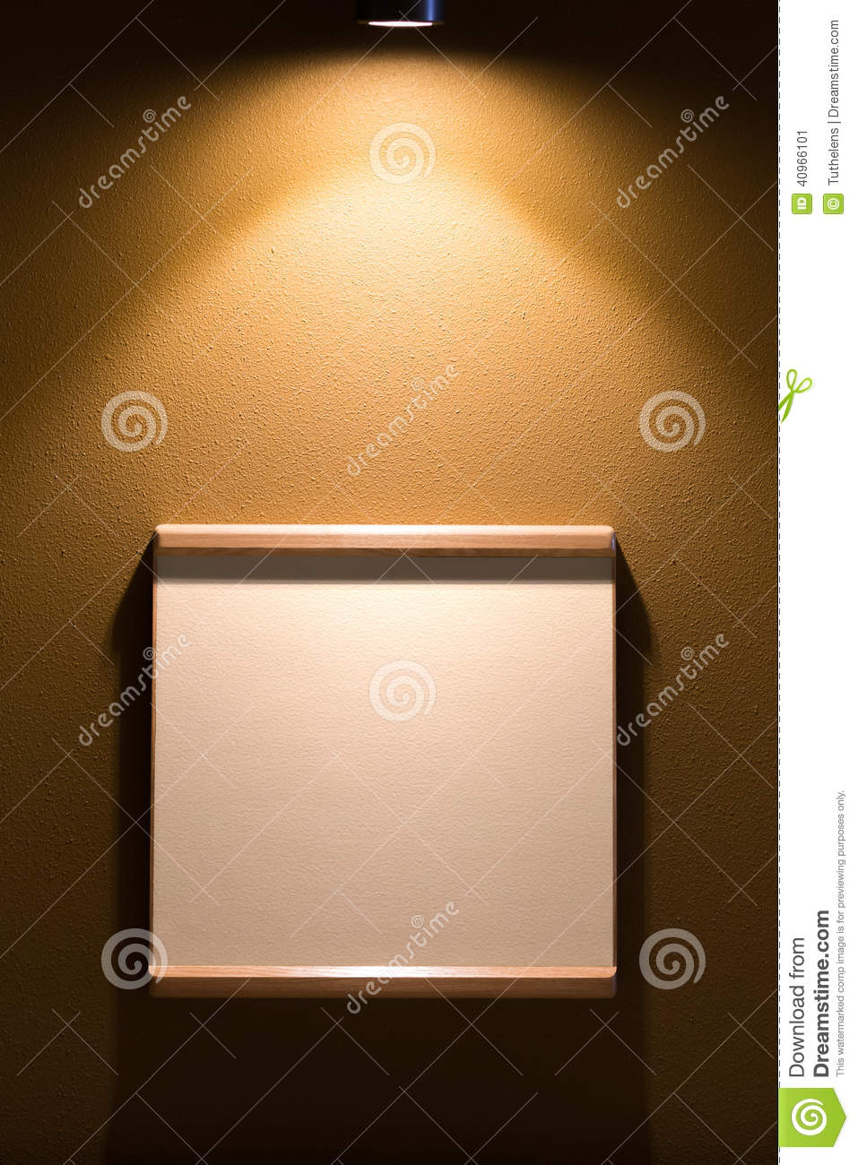 Empty Frame On The Wall With Spotlight Stock Image - Image of ...