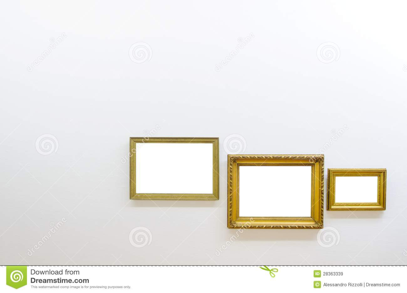 Empty frames in art gallery room