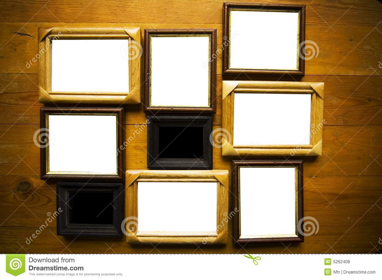 Empty Frames On Wooden Wall Stock Photo - Image of concept, design ...