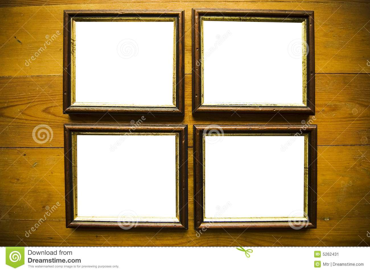 Empty frames on wooden wall stock image image 5262431 for What to do with empty picture frames