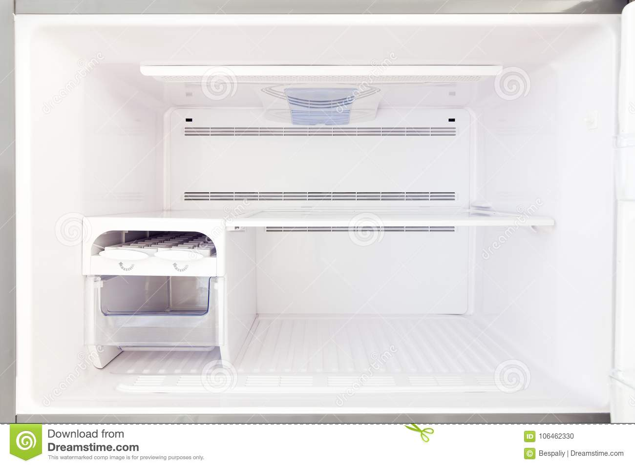 The empty freezer is a view inside.