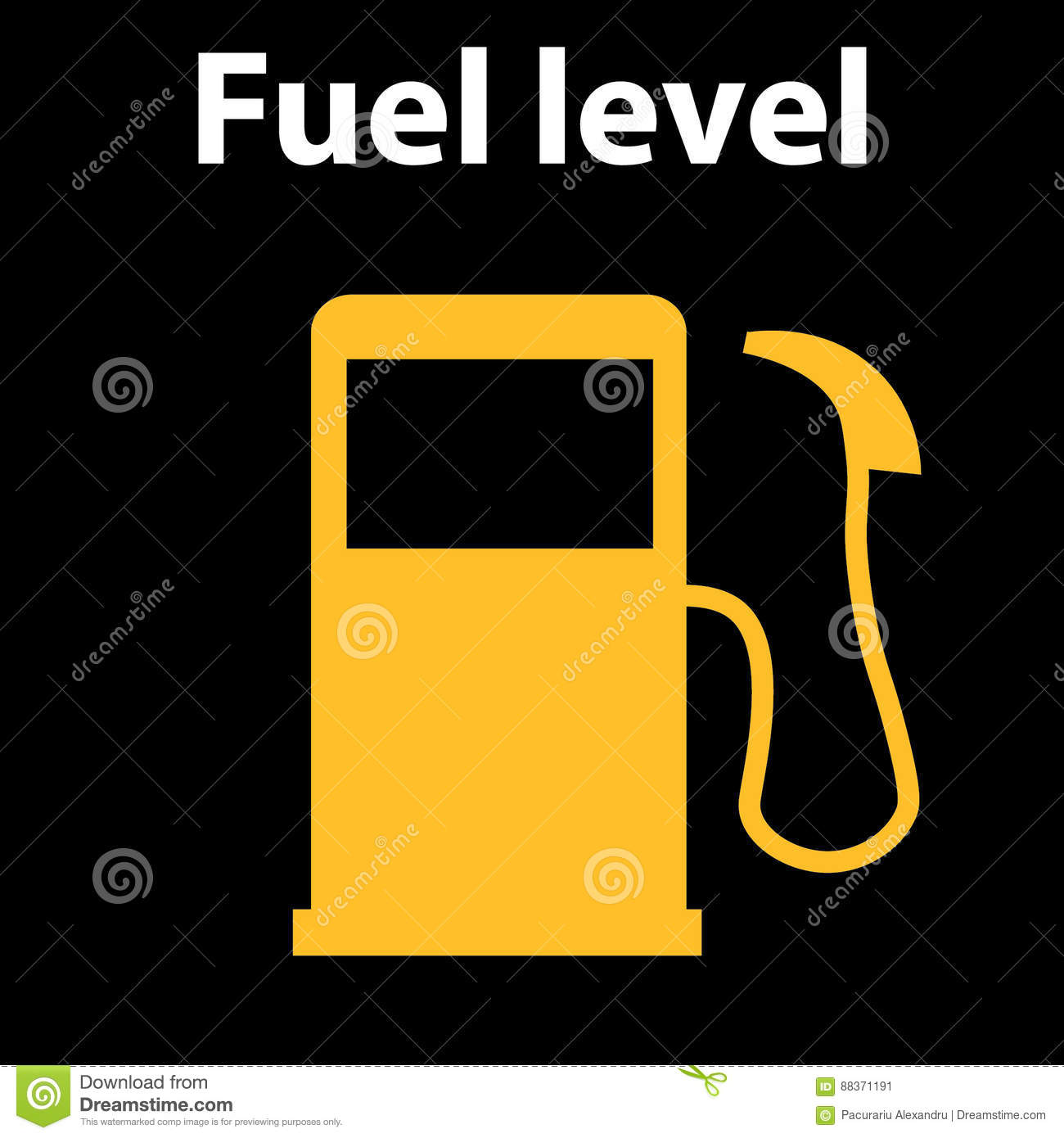 Empty Fuel Warning Light In Car Dashboard Vector Illustration - Car sign on dashboard