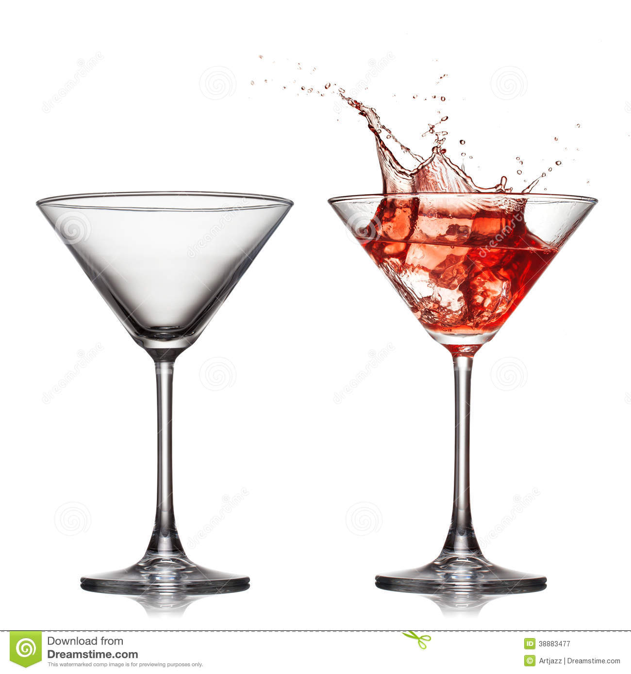 empty and full martini glass with red cocktail stock image. Black Bedroom Furniture Sets. Home Design Ideas