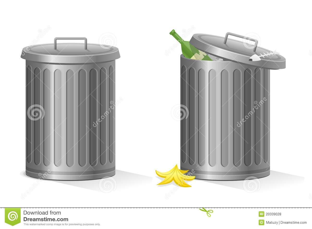 Empty And Full Vector Refuse Bin Isolated Royalty Free
