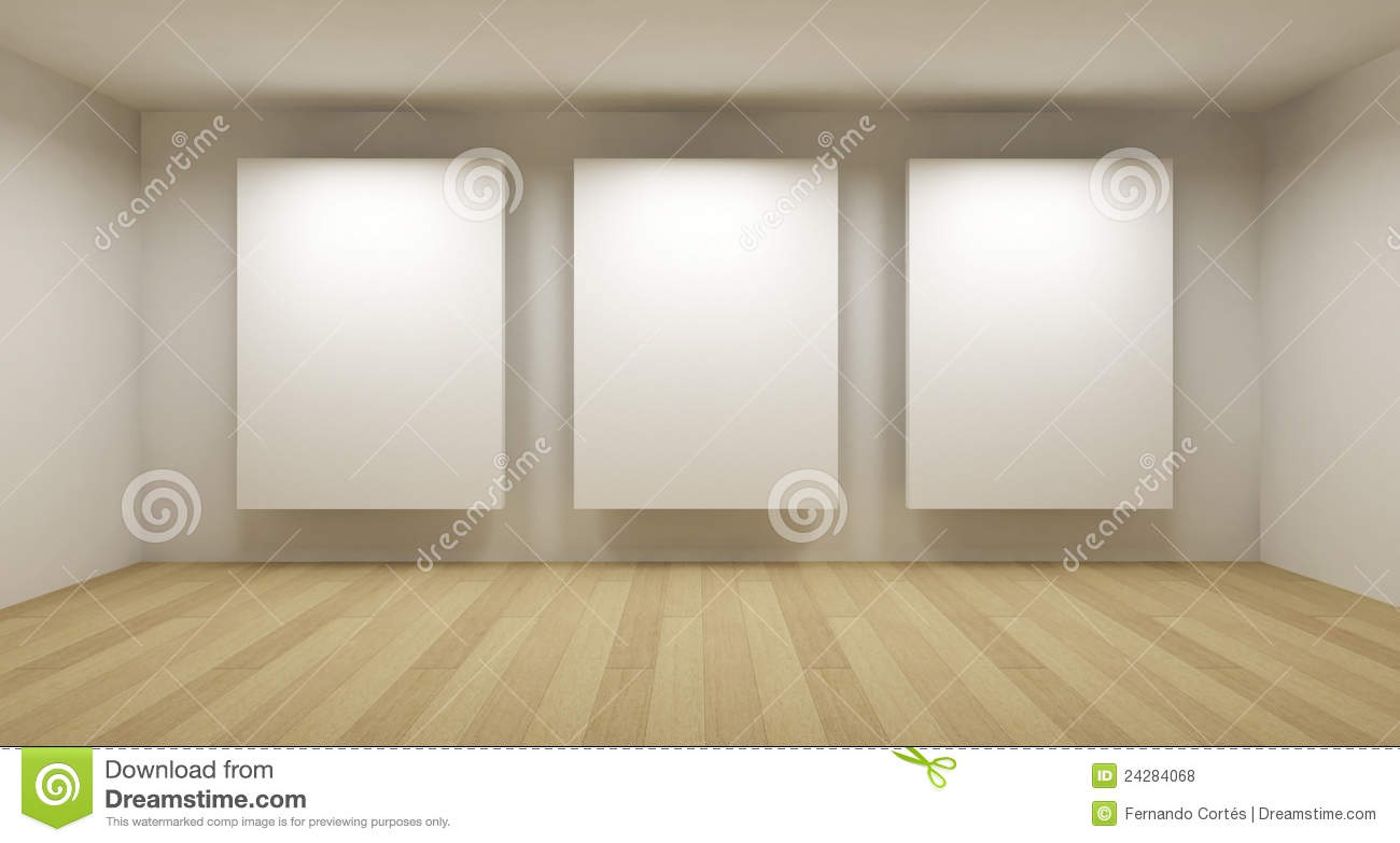 Empty Gallery 3d Room Stock Illustration Illustration Of