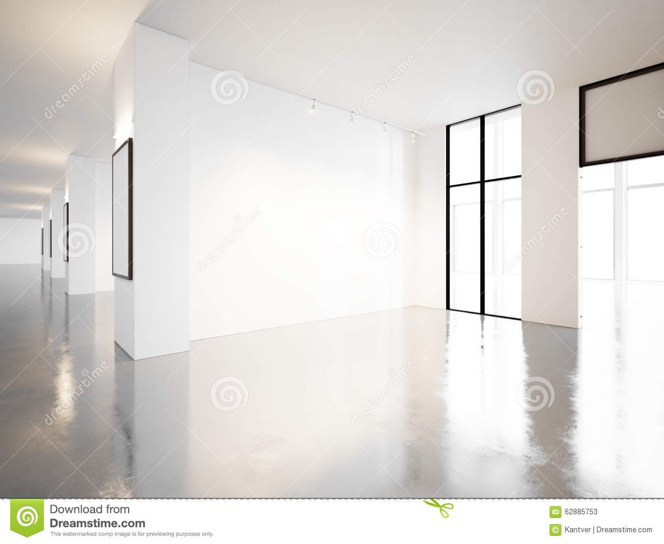 Empty Gallery Of Contemporary Museum 3d Render Stock