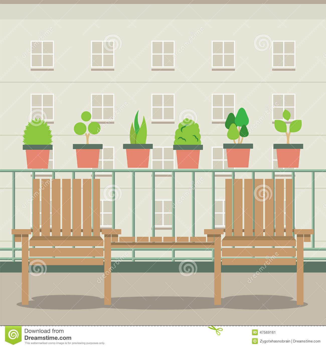 Empty garden chairs at balcony stock vector image 47569161 for Balcony clipart