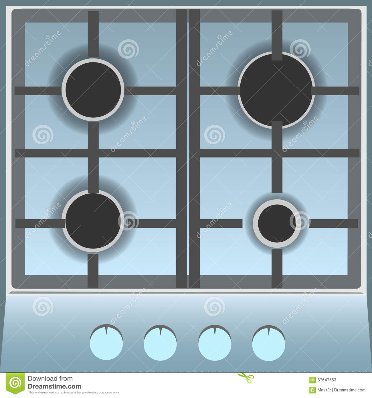Empty Gas Stove Top View Stock Illustration Image 67647553