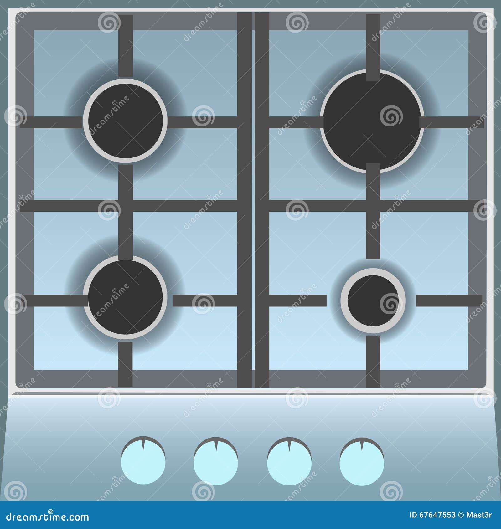 Kitchen gas stove top view - Empty Gas Stove Top View Stock Photos