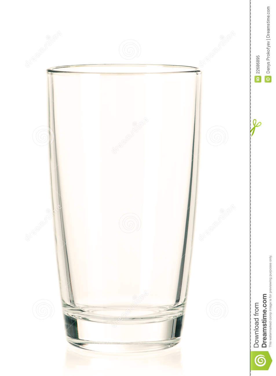 Empty glass for water, juice or milk on white background.