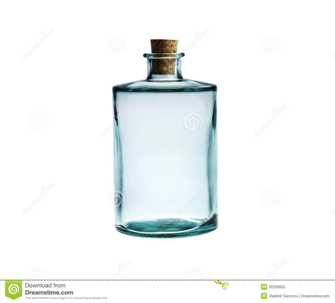 Empty Glass Bottle With Cork Stopper Isolated On White Stock Image