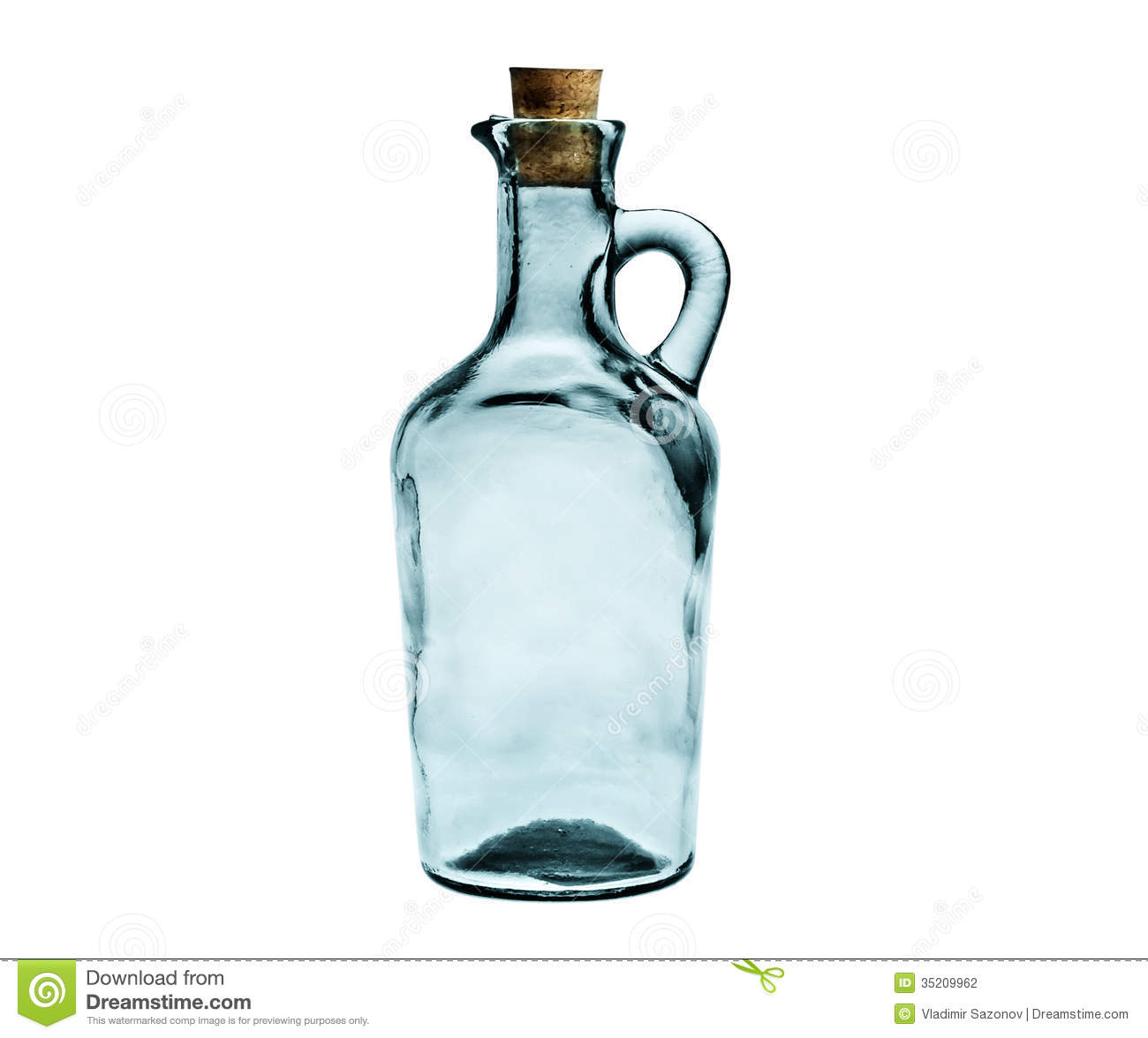 empty glass bottle with cork stopper isolated on white. Black Bedroom Furniture Sets. Home Design Ideas