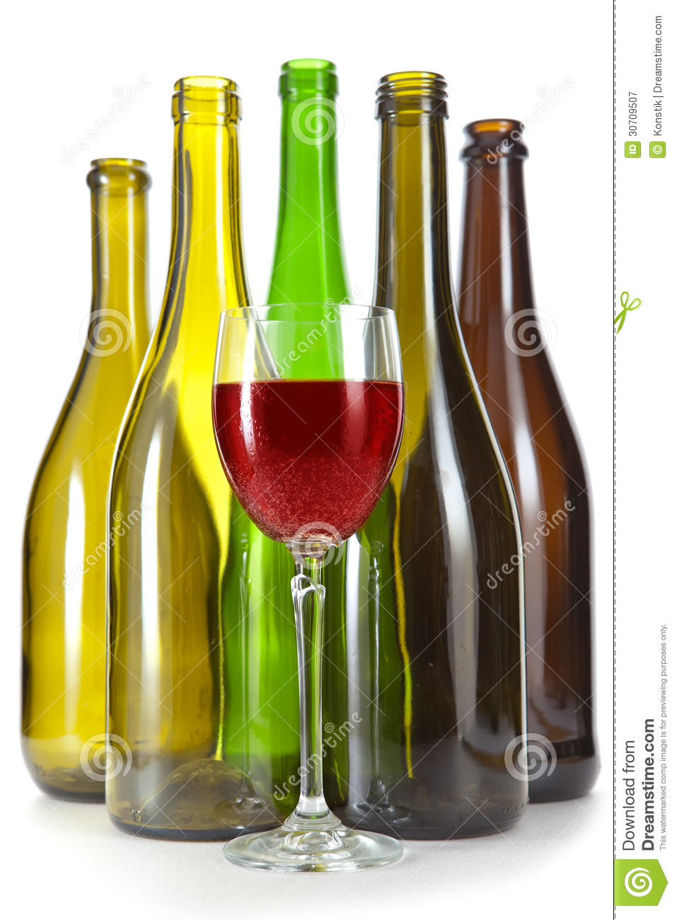 Empty glass bottles from under wine of various color and a for Where to buy colored wine bottles