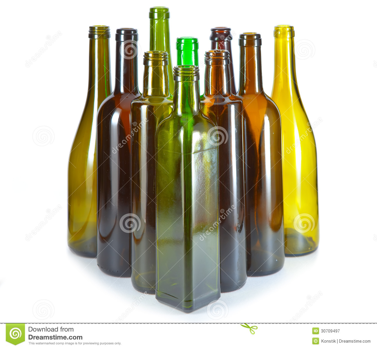 Empty glass bottles from under wine of various color and a form on a white background royalty - Empty colored wine bottles ...