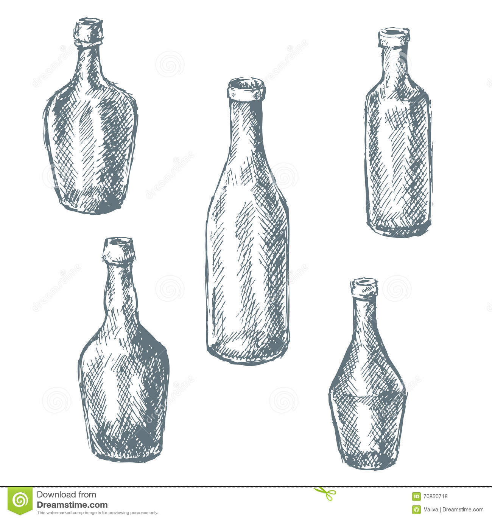 Empty Glass Bottles For Wine Sketch Stock Vector Image