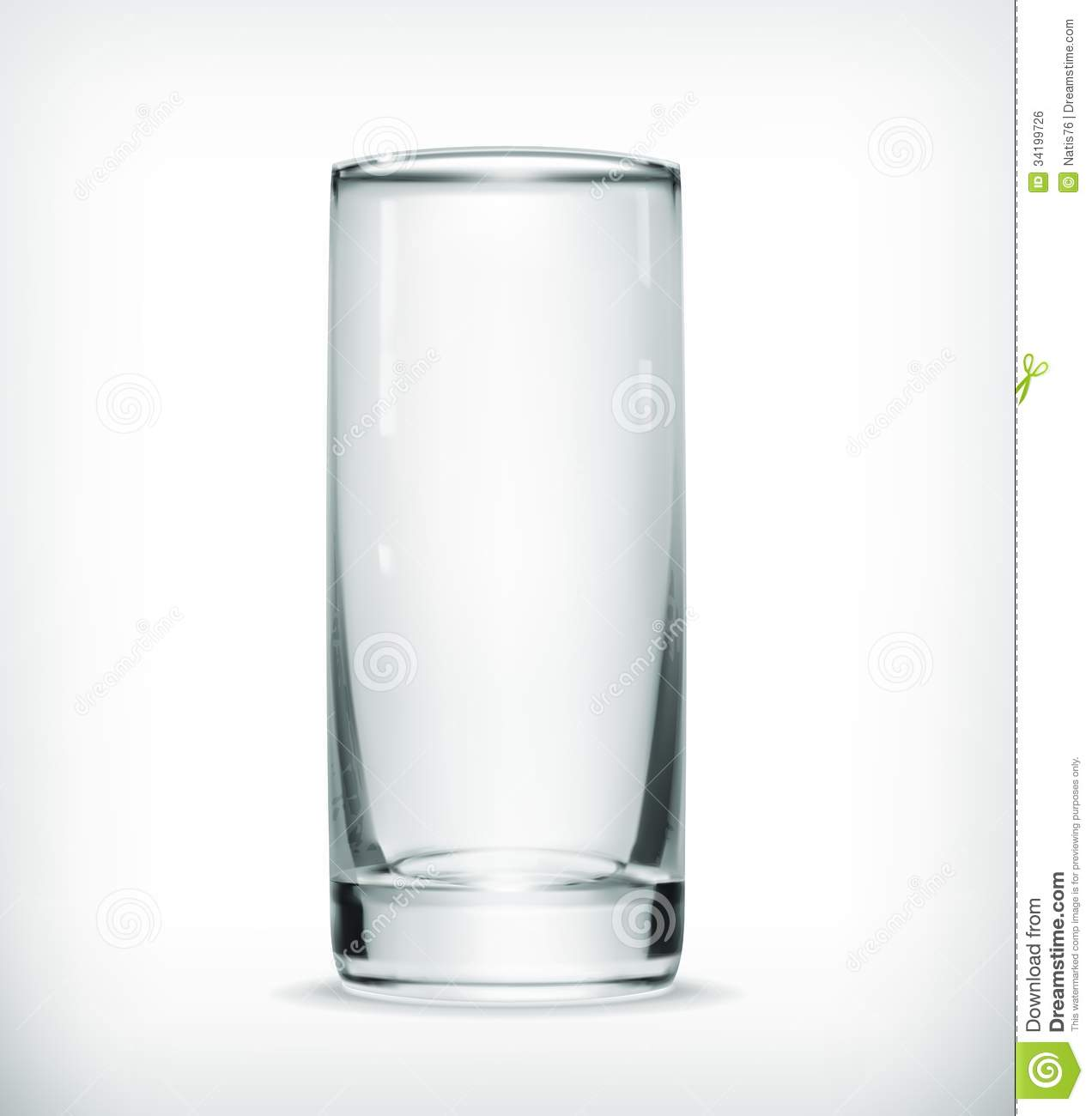 Empty glass, computer illustration on white background.