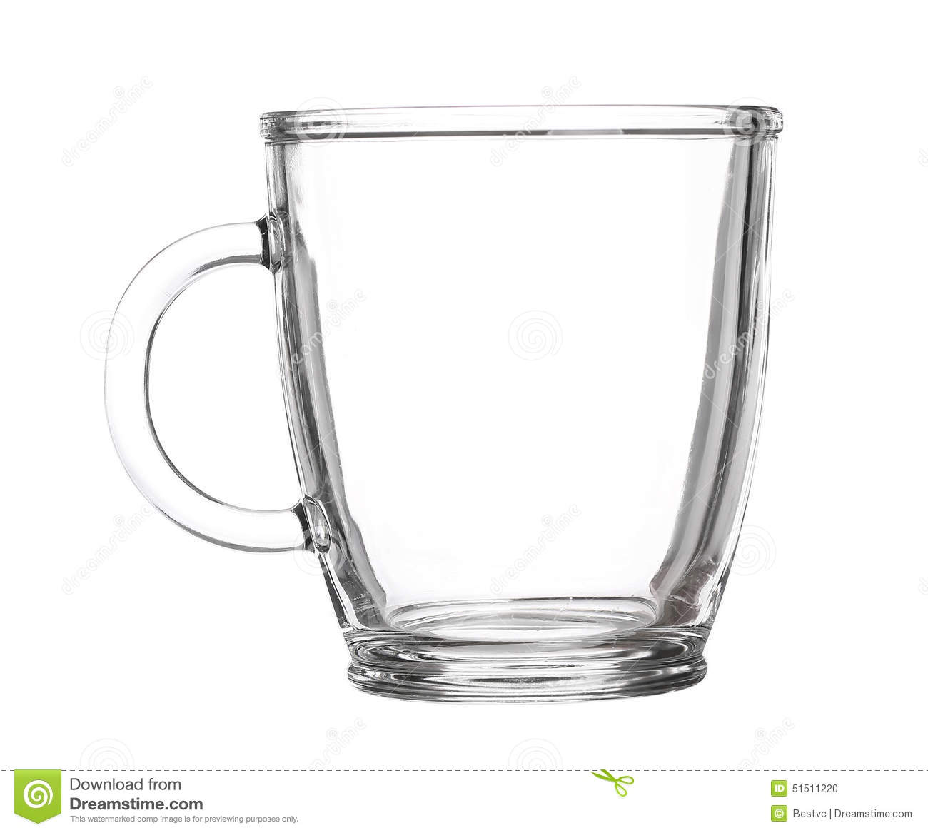 Empty Glass Cup Of Tea With Handle Isolated On White ...