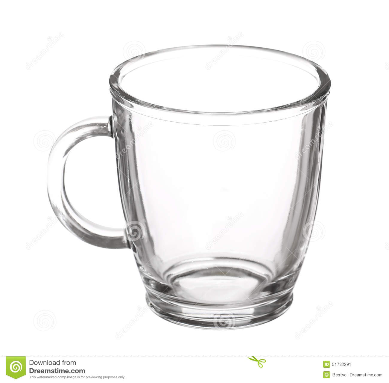 Empty Glass Cup Of Tea With Handle Isolated Stock Image ...