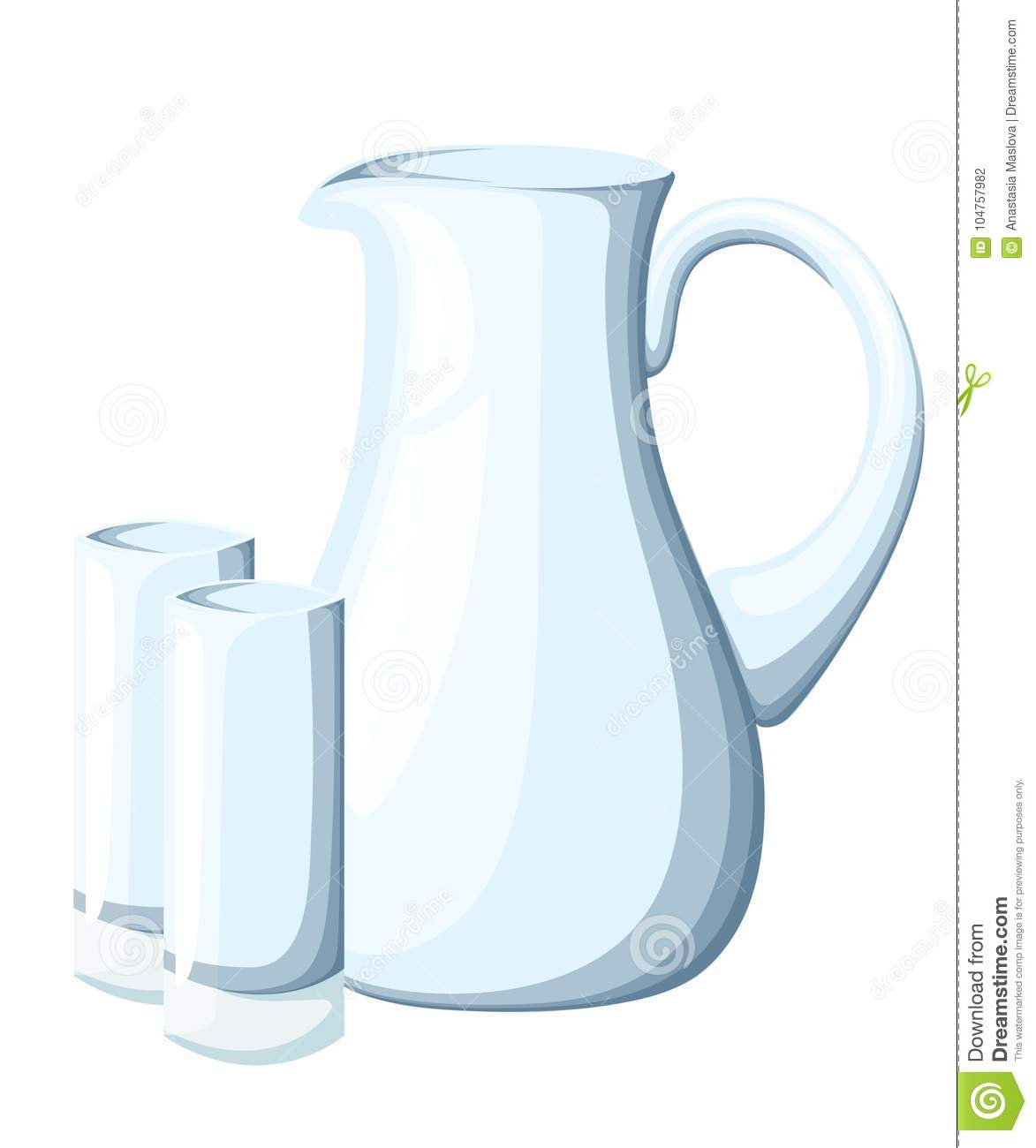 Empty Glass Pitcher And Glasses  Transparent Kitchen Utensils