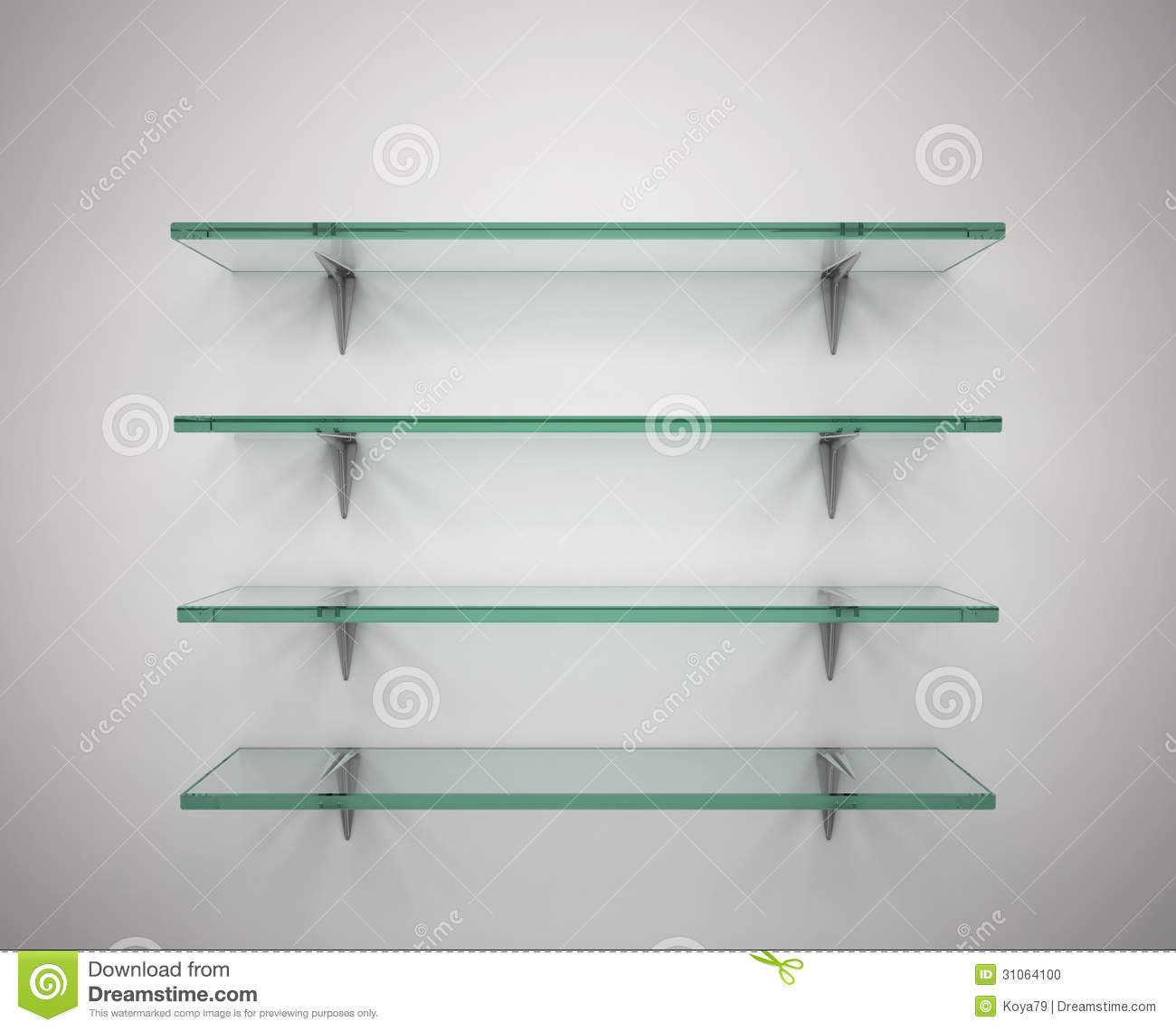 Empty Glass Shelves Stock Photo Image 31064100