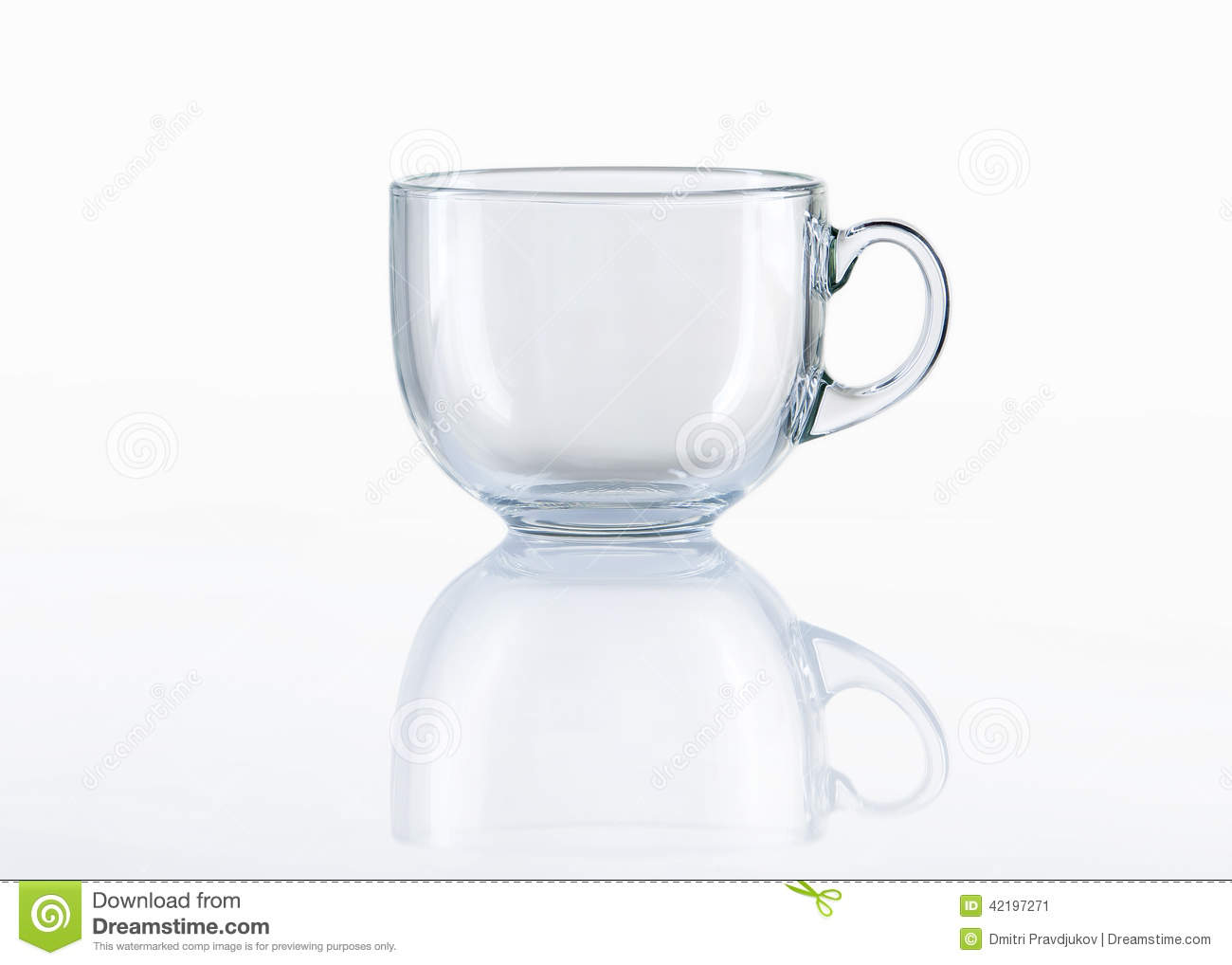Empty Glass Tea Cup On White Background Stock Photo