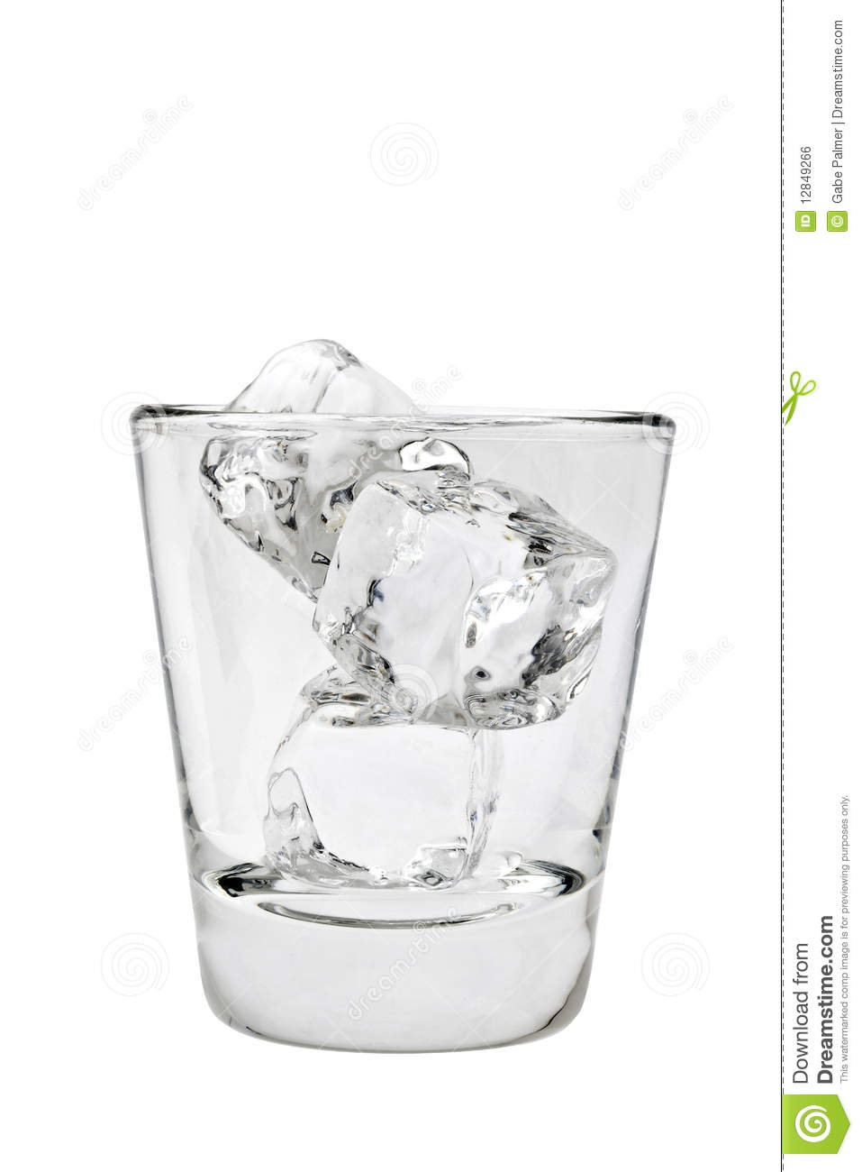 Glass Of Water With Ice Cubes
