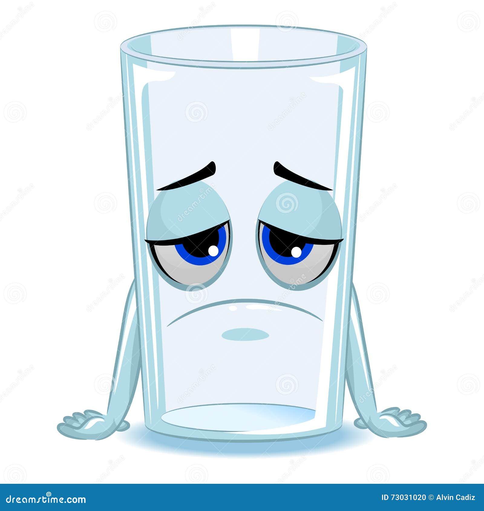 Empty Glass Of Water Mascot Sad Stock Vector - Image: 73031020