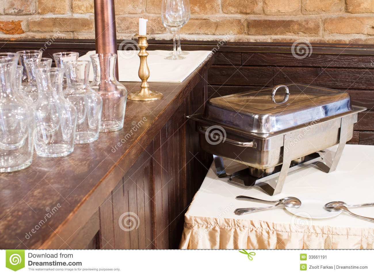 Empty glasses and metal kitchen equipments.