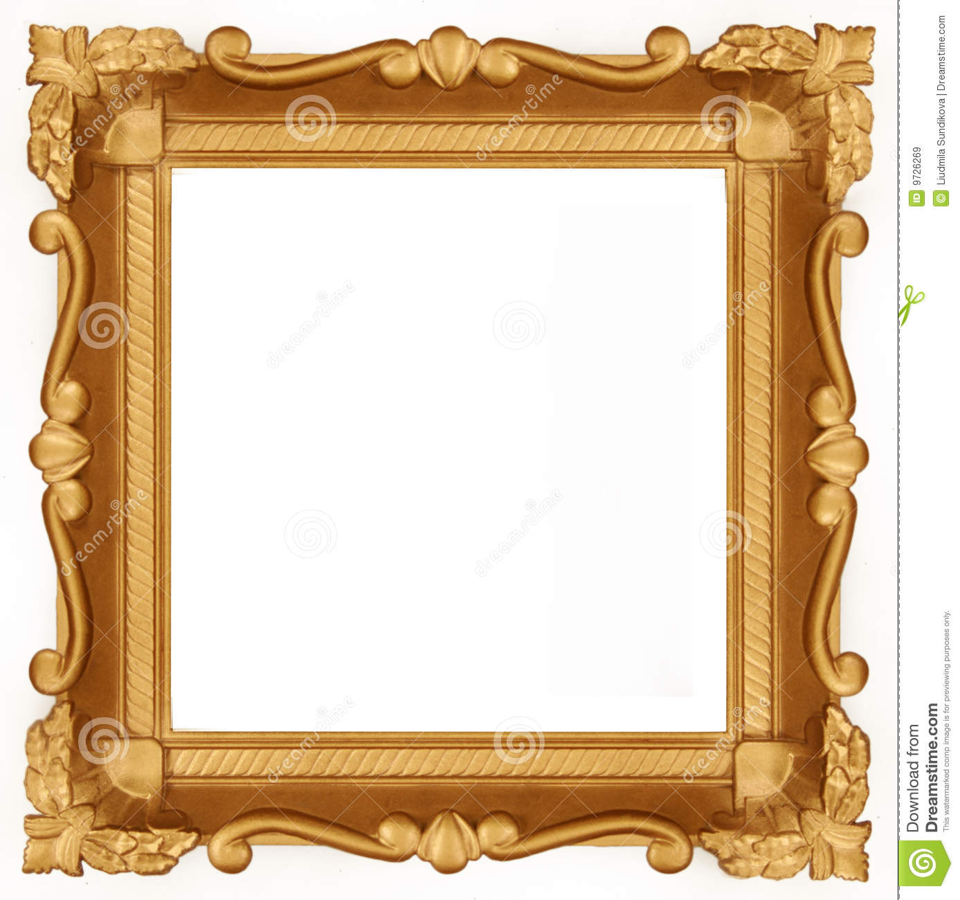 Empty gold frame stock image image of wall yellow wood for What to do with empty picture frames